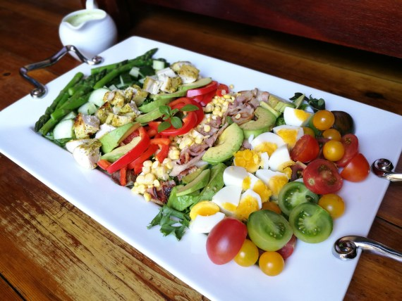 Cobb salad with creamy ranch dressing.