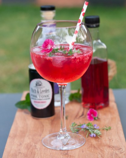 Summer rose cordial gin and tonic