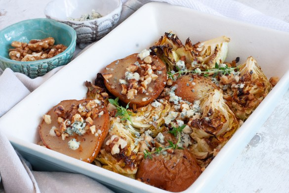 Roasted pear and cabbage
